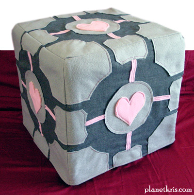 weighted companion cube life-size scale slip cover foot rest